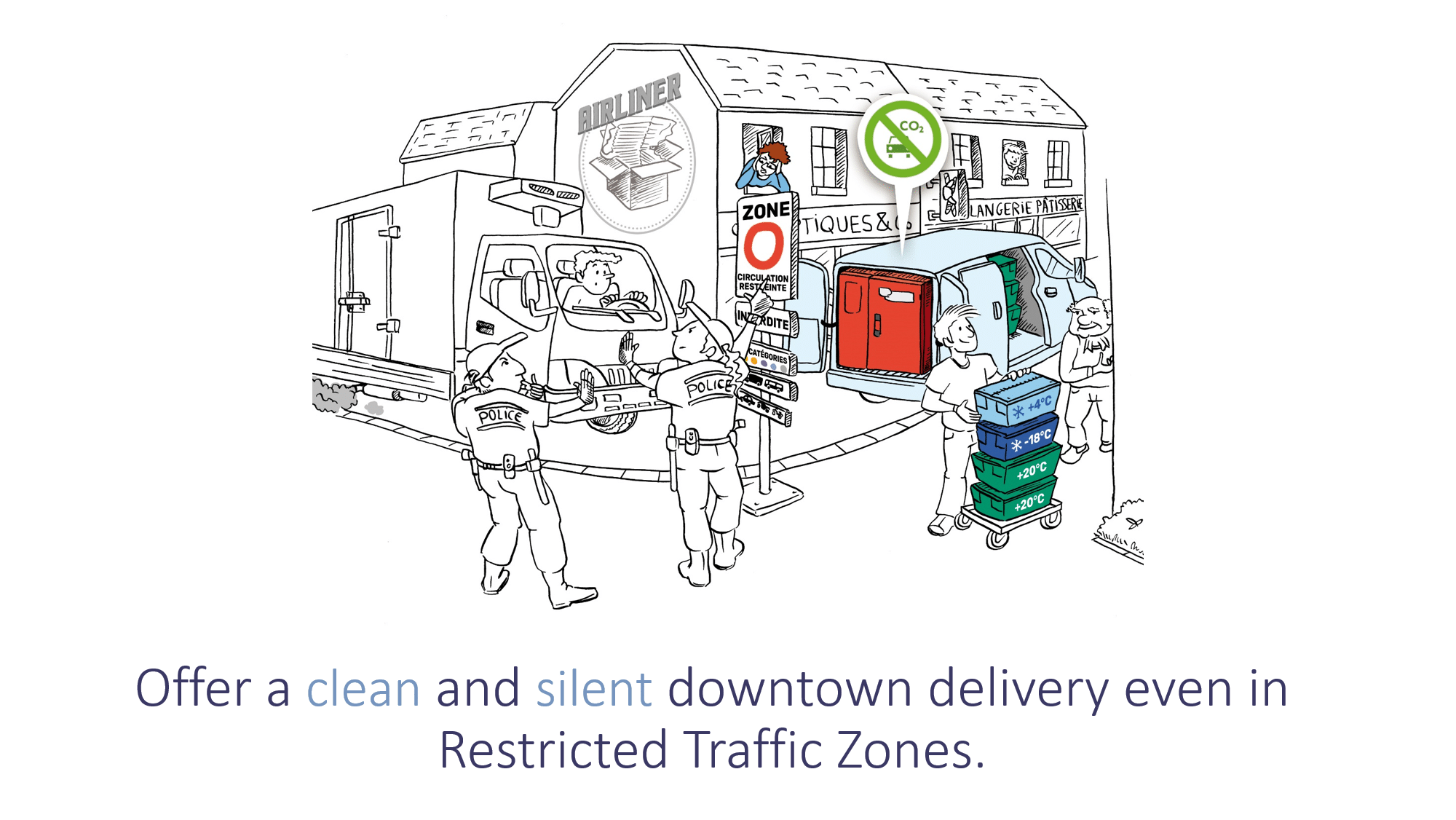 Offer a clean and silent urban delivery with insulated container CarryTemp (ATP certification) associated with cargo bikes, scooters or trailer bikes.