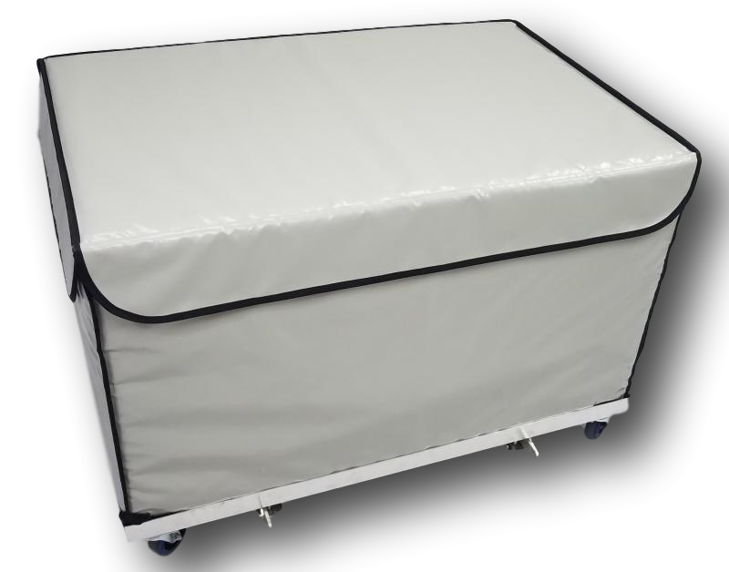 Cooler and insulated pallet size box for the delivery of fresh products. Compatible for bike delivery. ATP certified.