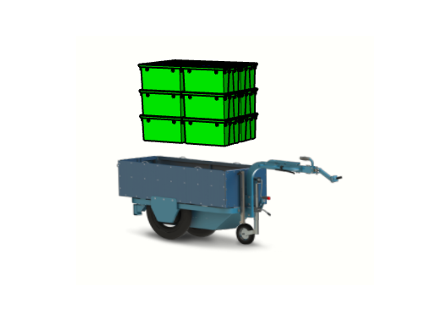 K-Ryole trailer bike can hold 4 crocodile crates on the floor. Remember to insulate your boxes by adding an insulating cotton insert from COLD & CO to transport fresh goods.