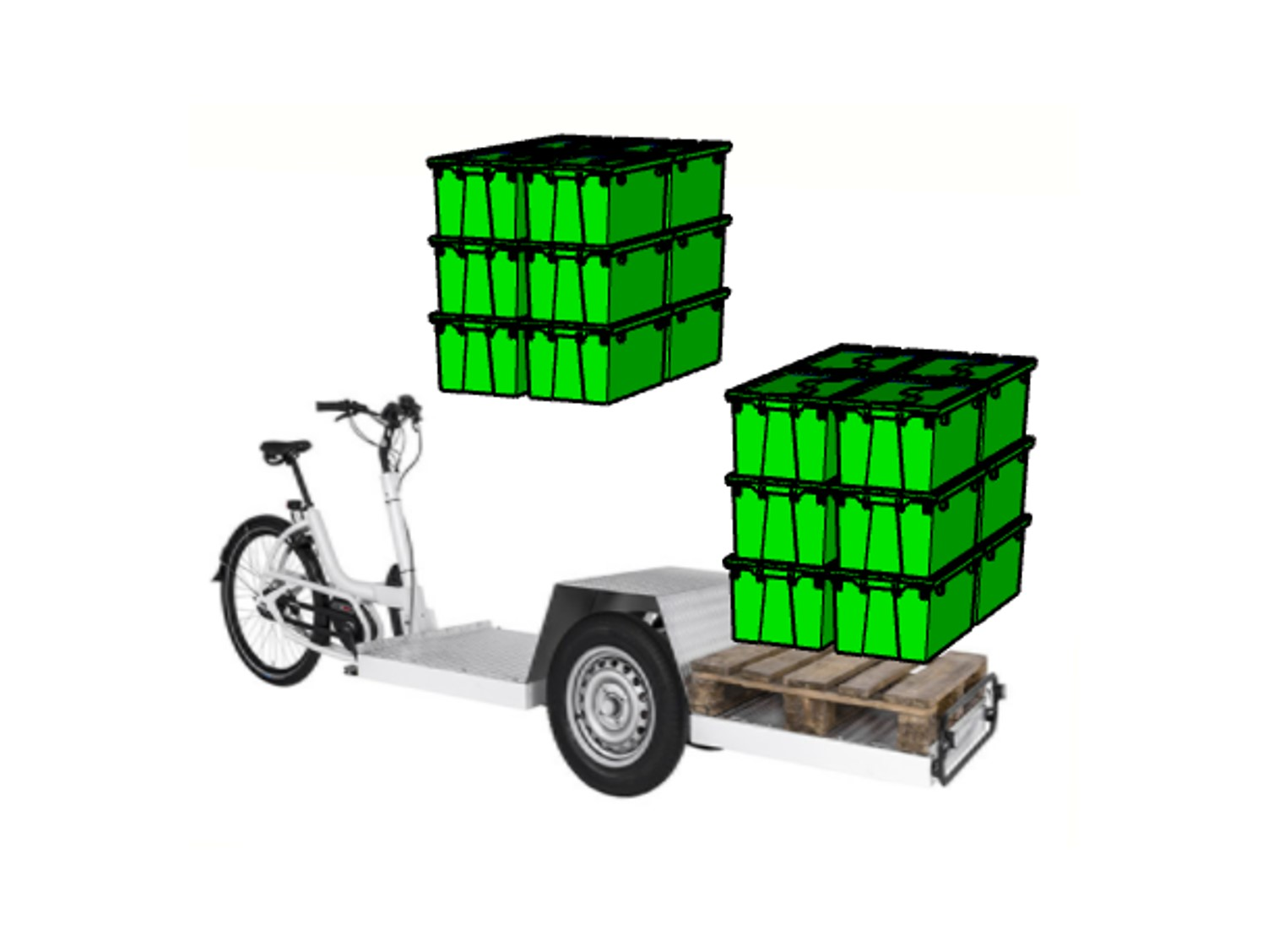 Three-wheel cargo trike can hold twice 4 crocodile boxes on the floor. Remember to insulate your packaging by adding an insulating cotton insert from COLD & CO to respect the cold chain.