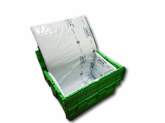 Insulated plastic tray or insulated plastic case with flexible insert for cold delivery of fresh and frozen products. Maintaining the temperature.